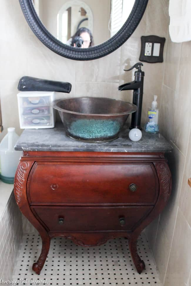 An ugly vanity is painted with Americana Decor Satin Enamels Paint and given new life!