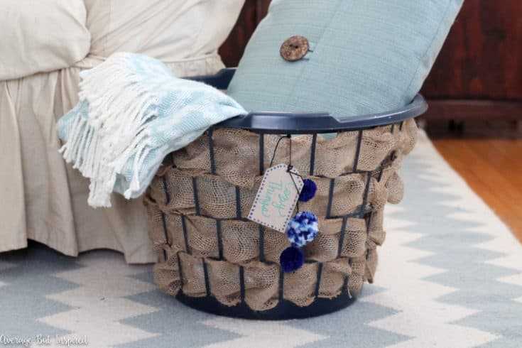 Dollar Store Laundry Hamper to Burlap Basket