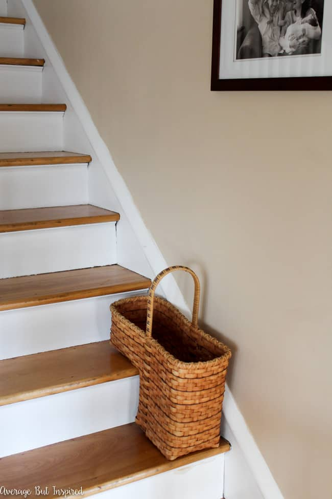 This dated staircase basket from the thrift store got a brand new look!