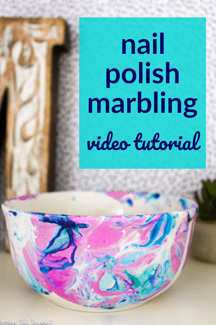 Learn how to make just about any plain object beautiful with nail polish marbling! This post has a video that shows you how to marble with nail polish. It is such a fun technique!