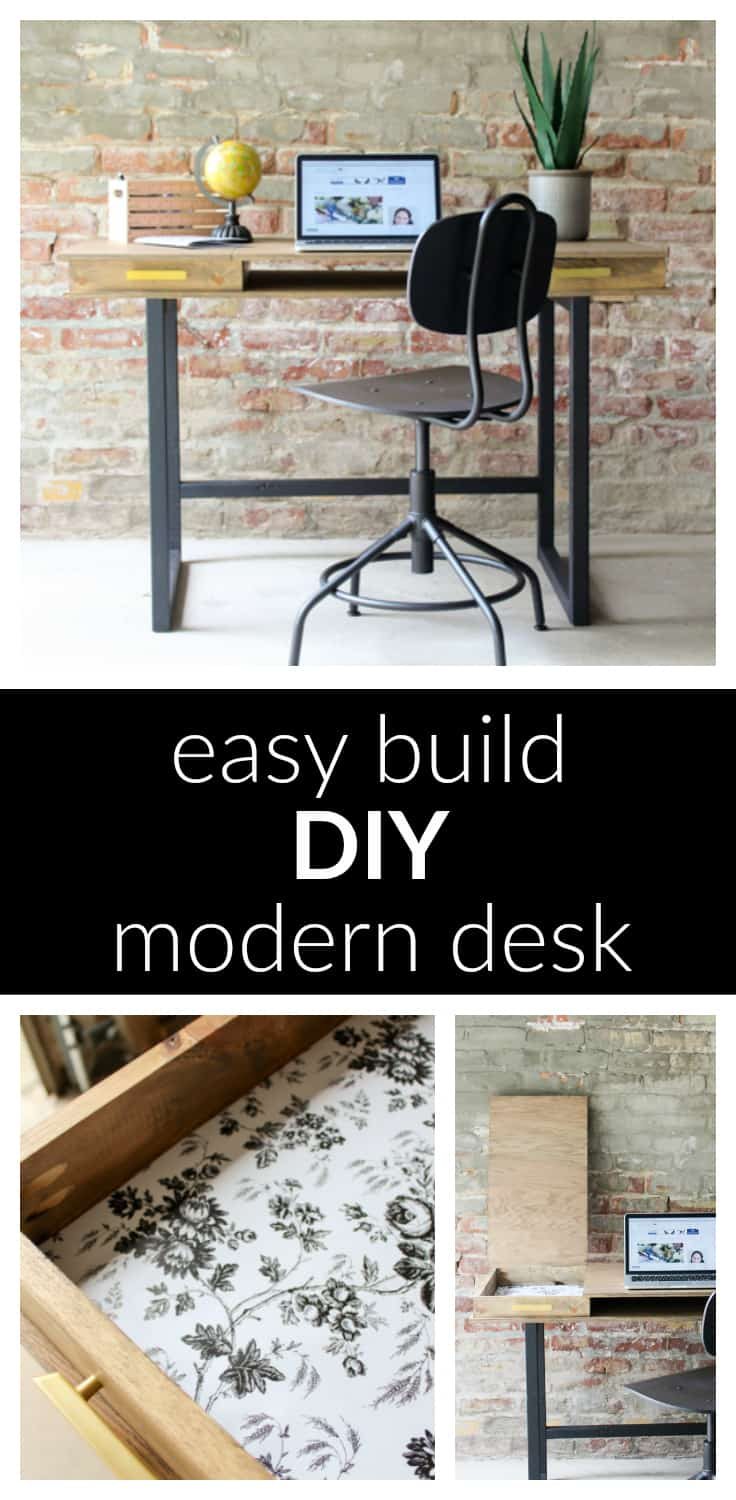 Learn how to build your own DIY Modern Desk with storage compartments! This is a a great woodworking project for beginners, and a great beginner Kreg Jig project, too!
