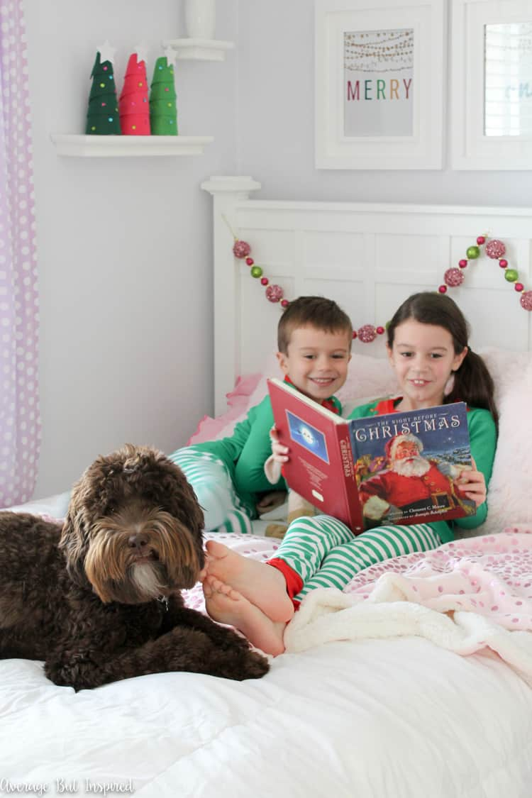 Deck the halls with these fun Colorful Christmas Kids Bedroom decor ideas! Furry throws and pillows and bright colors make the room special for the holiday season!