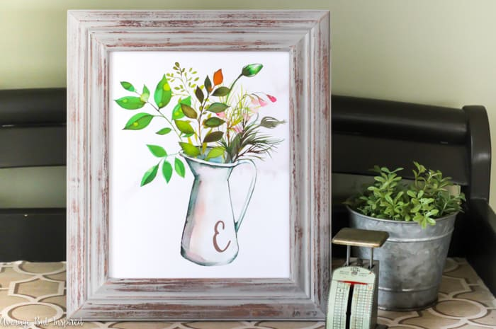 Download this free printable monogram botanical pitcher art!