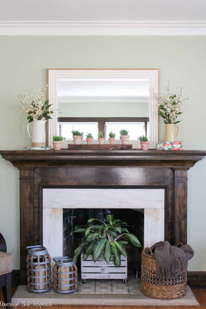 It's so easy to decorate a spring mantel with just five elements! You can achieve a beautiful look for spring with simple decor elements that are able to be used throughout the seasons! This spring mantel decor is fresh and classic.
