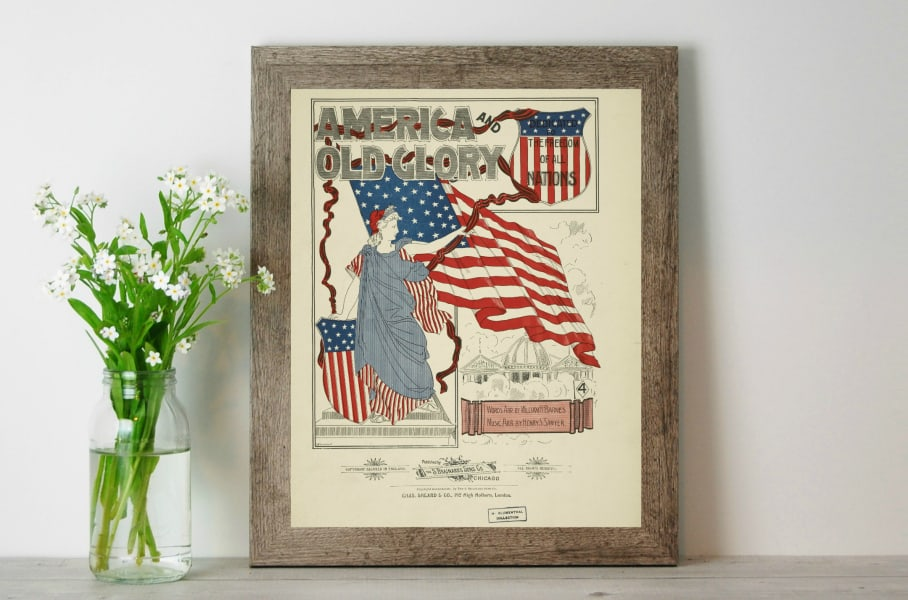 Download this free vintage patriotic printable of patriotic sheet music cover art! It's the perfect Fourth of July printable! #fourthofjuly