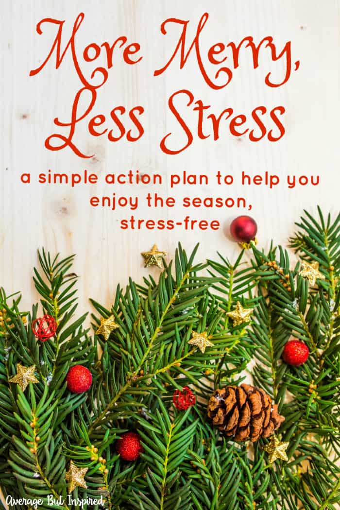 Don't let holiday stress get to you! The More Merry, Less Stress holiday action plan gives you simple tips for a stress-free holiday. Each week a new tip will be revealed, which will help you manage your time effectively so that you can really enjoy the holidays!