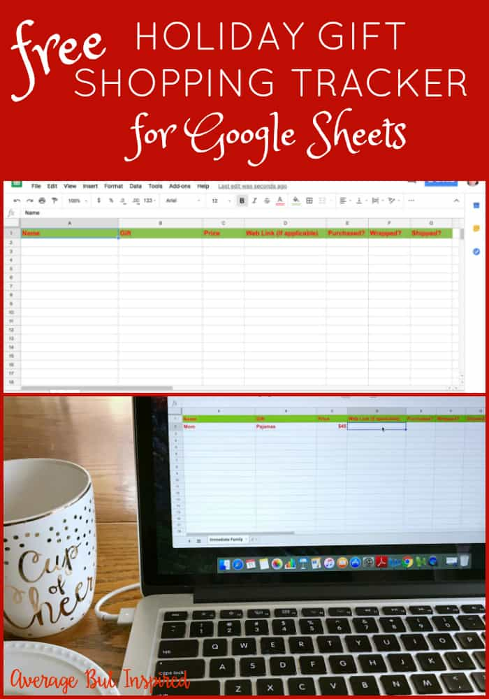 Keep track of your Christmas gift shopping with this free Google Sheets template!  It will help you stay organized and stress free this holiday season!  Plus, it's so easy to use!