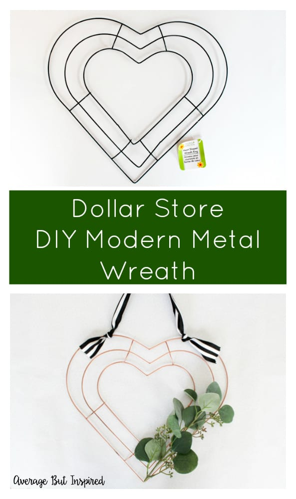 You won't believe how easy it is to make a modern metal wreath! You only need a few inexpensive supplies to create this pretty wreath for your home decor. #valentinewreathdiy #wreathdiy #dollarstorediy #dollarstoredecor #dollarstorecrafts