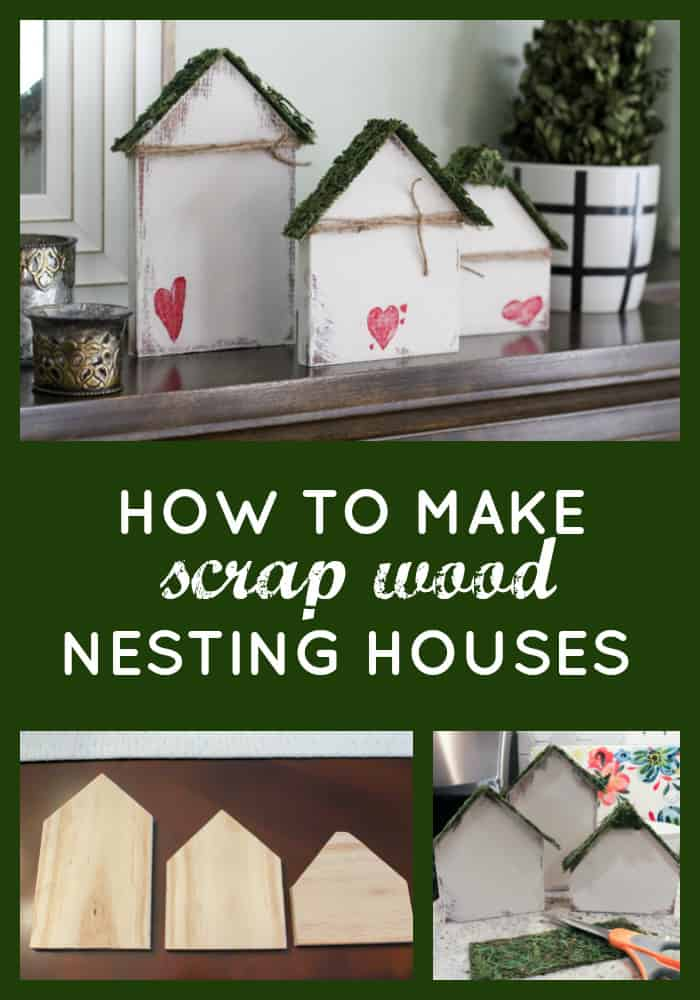 Grab some wood from the scrap pile and learn to make adorable scrap wood nesting houses for decor! They're so easy to make and add a cute touch to your space! #scrapwoodprojects #scrapwoodcrafts #scrapwoodprojectsdiy
