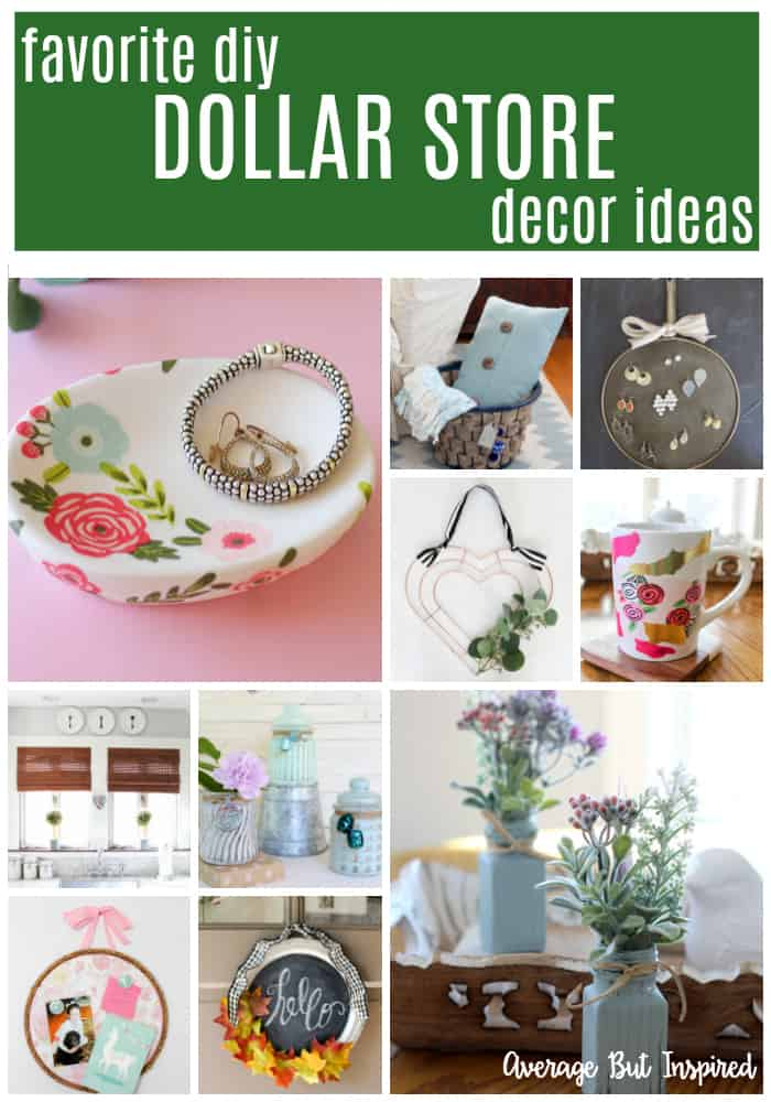 There are so many great DIY Dollar Store Decor Ideas in this post! It's so easy to make pretty home decor with items from the dollar store or Dollar Tree! #dollarstoredecordiy #dollarstoredecorating #dollartreedecorideas