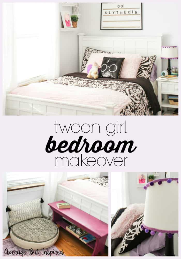 Love this tween girls bedroom post. Cute bedroom that includes some Harry Potter decor. #tweengirlsbedroom #kidsroom #kidsbedroomdecor