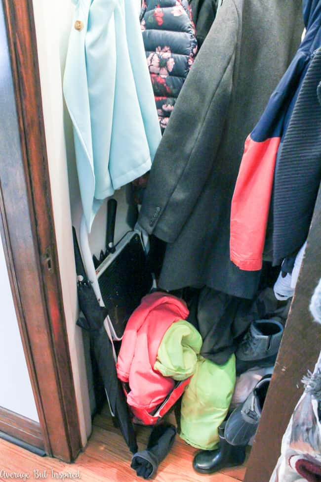"The ""before"" of this coat closet is a disaster. This disorganized coat closet got an organizational makeover and functions so much better!"