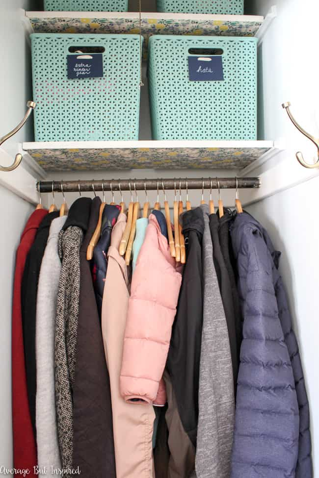 This coat closet organization makeover is one not to be missed! Get great tips for organizing a coat closet and on how to keep it organized in the future.