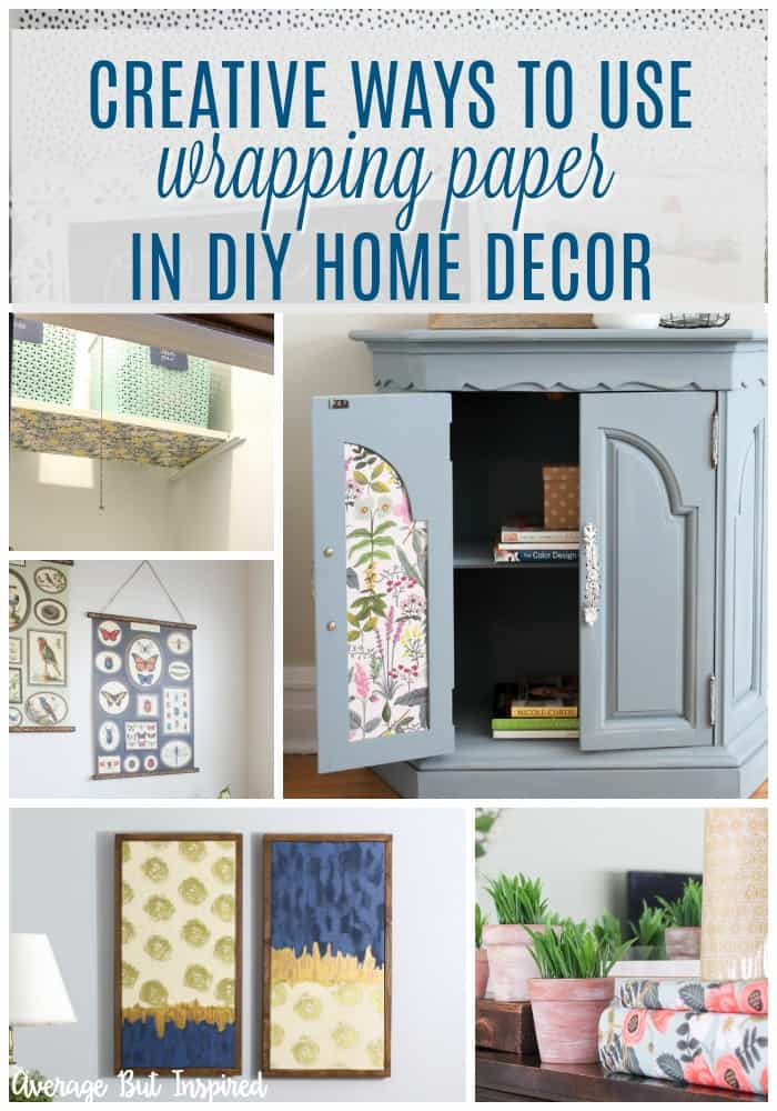 Pretty wrapping paper is a DIY decorator's best friend! Check out this post for seven creative ways to use wrapping paper in your home decor projects. It's a budget-friendly and easy way to add a pop of pretty to your home! #wrappingpapercrafts #wrappingpaper #wrappingpaperhomedecor