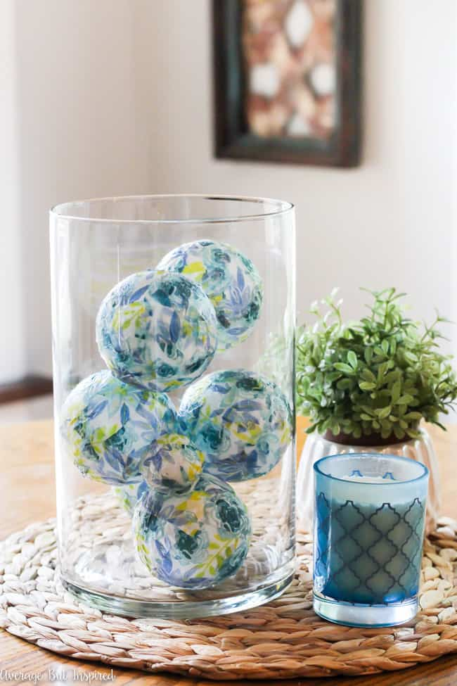 Create beautiful decorative balls that are wonderful as vase fillers or centerpiece balls, by using supplies purchased at Dollar Tree!