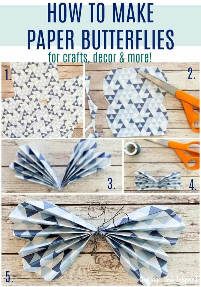 Super cute! It's so easy to learn how to make paper butterflies! This post shows you how with step-by-step photos and a video tutorial! Use paper butterflies in crafts, decor, and more!