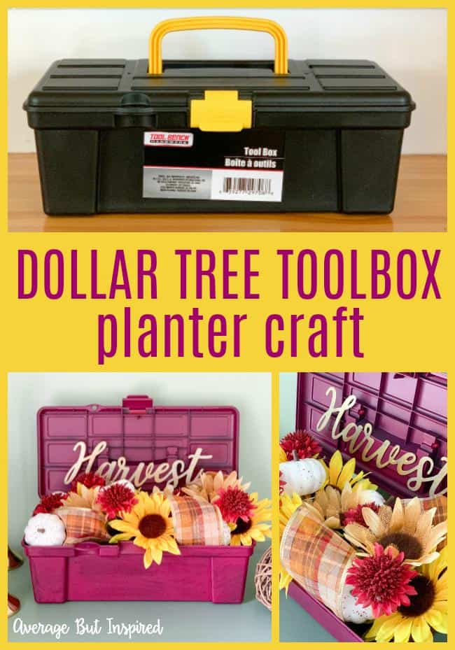 So cute!! Transform a Dollar Tree toolbox into a pretty planter filled with flowers for fall! Learn how to replicate this look for any season - it's so easy!