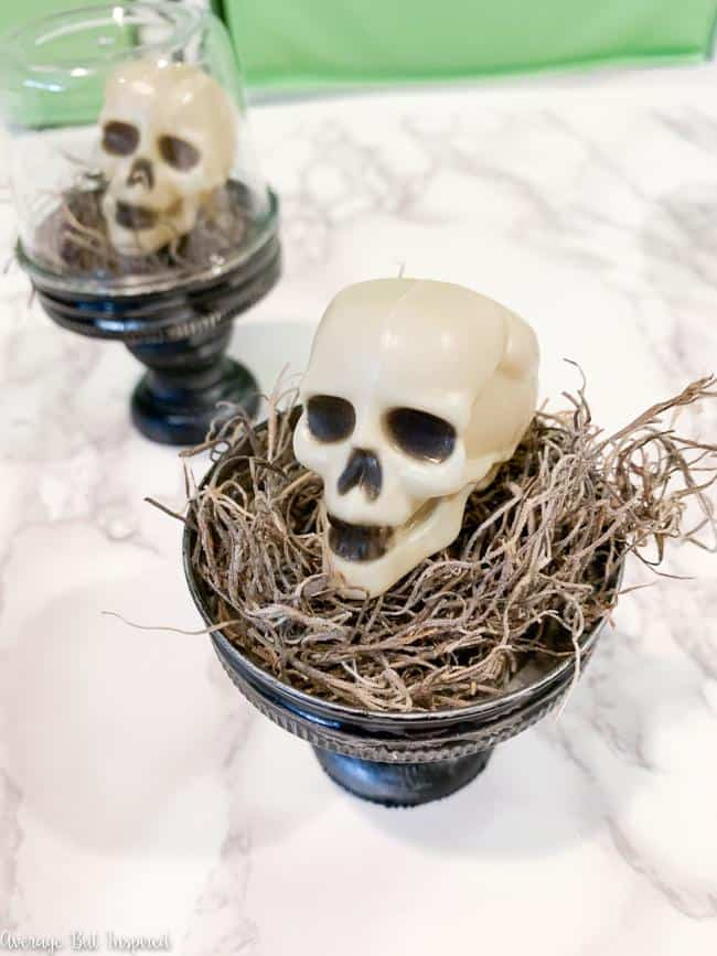 Use Dollar Tree mini skulls to make adorable Halloween cloches for your decor this Halloween.