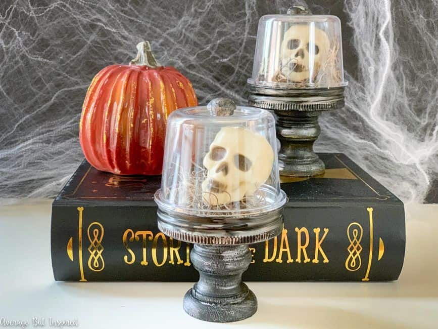 Use Dollar Tree mini skulls to make adorable Halloween cloches for Halloween this year!