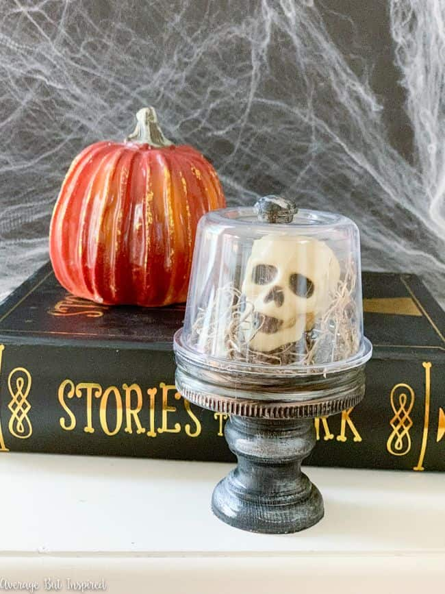 Make a Halloween cloche with skulls to add some creepy and cute to your Halloween decor this year.