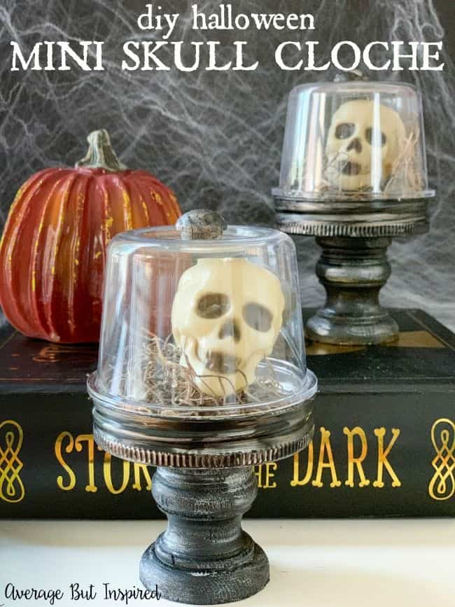 Skull decorations are so hot for Halloween! Use Dollar Tree mini skulls to make these cute and creepy Halloween cloches!