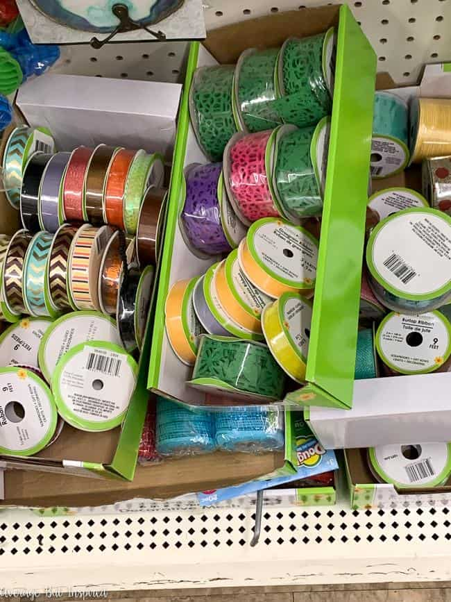 Craft ribbon from Dollar Tree is one of the best dollar store craft supplies to buy.
