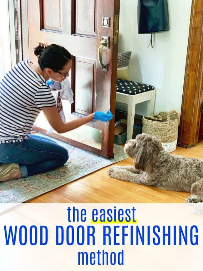 This is the easiest way to refinish a wood door, and it gives results that last!  Anybody can make their wood door look fabulous with the tips shared in this post.  Plus, you'll achieve a long-lasting finish at a fraction of the cost if you hire a professional to refinish your door.