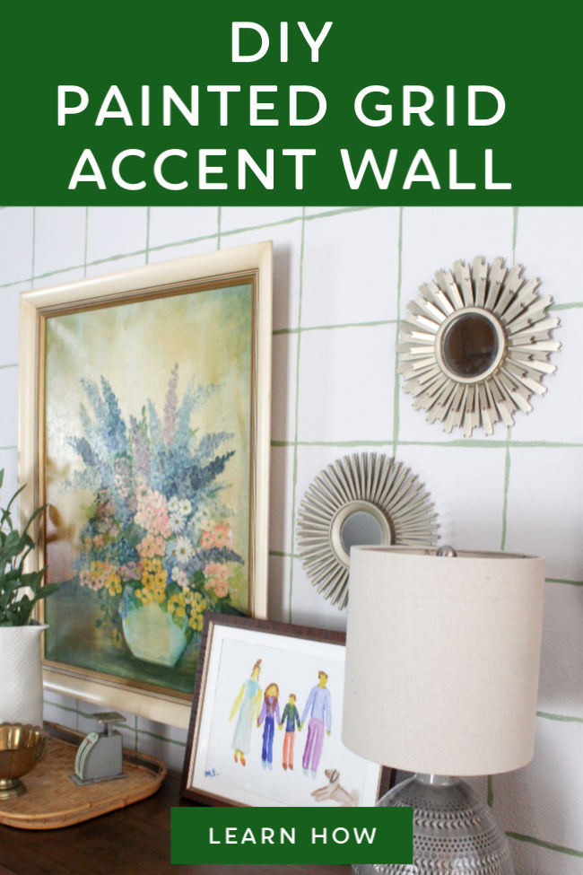 Painting your own accent wall is such a great way to add personality to your home! It's easy to paint a DIY accent wall and it doesn't cost much money at all. This painted grid accent wall is quirky and cute.