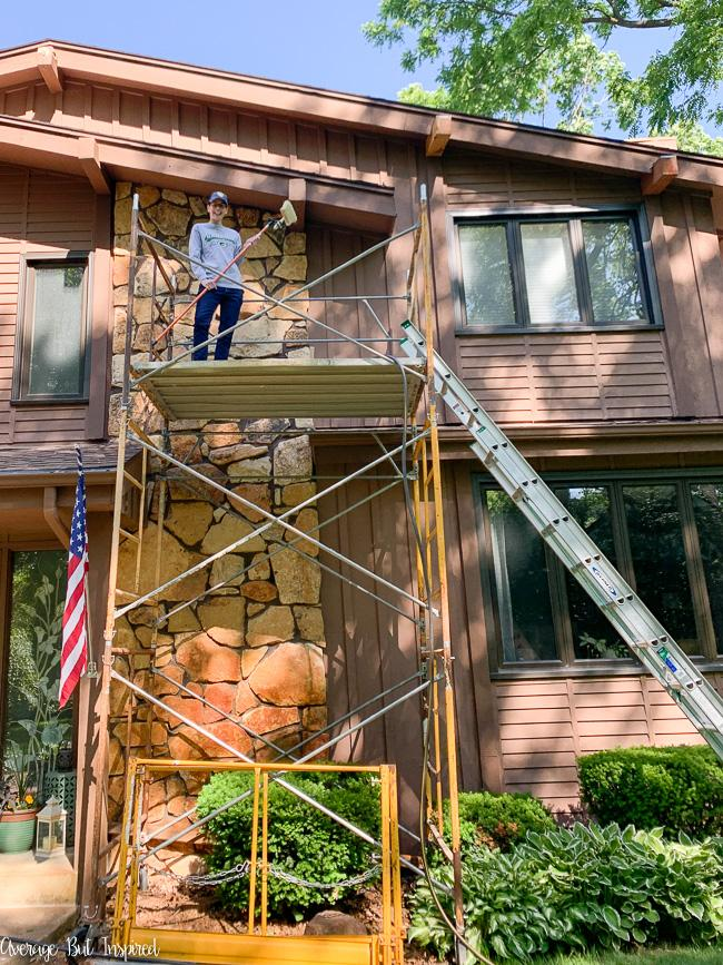 Bre from Average But Inspired limewashed her exterior rock column in one day! Learn how to change the color of your home's rock facade with limewash.