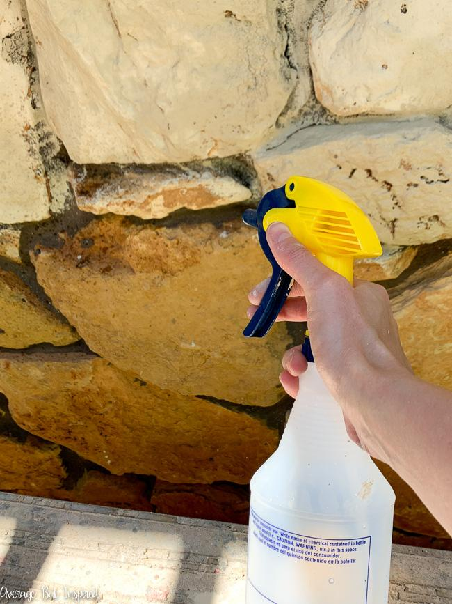 Spray bottles work great for re-wetting stone during the limewash process.