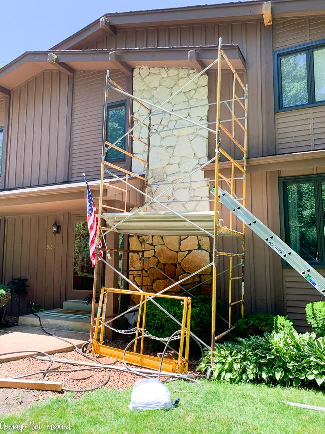 It's totally easy to DIY limewash exterior stone! This project is not as intimidating as it might seem. Learn how Bre from Average But Inspired transformed her stone exterior with limewash in one day.