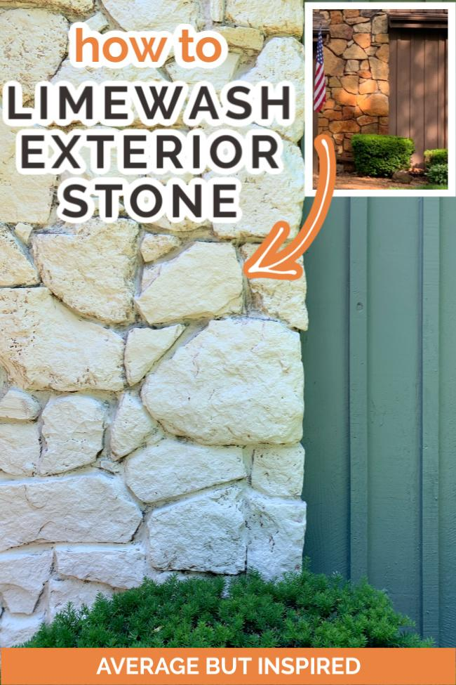 You will not believe how easy it is to do a DIY limewash exterior stone makeover! Change the color of your rock or stone with this environmentally-friendly product. It's totally DIY friendly! This blogger limewashed her exterior stone facade in one day.