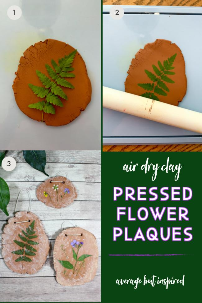 Create beautiful pressed flower plaques with air dry clay.