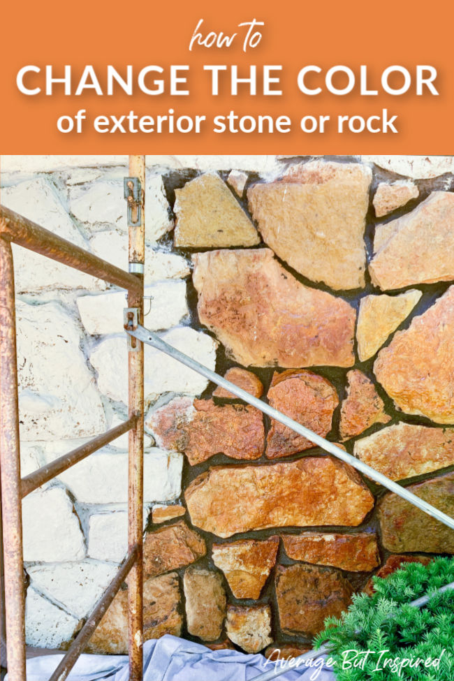 You won't believe how easy it is to change the color of exterior stone or rock! See how Bre at Average But Inspired limewashed her exterior stone to go from orange to a pretty, neutral shade!