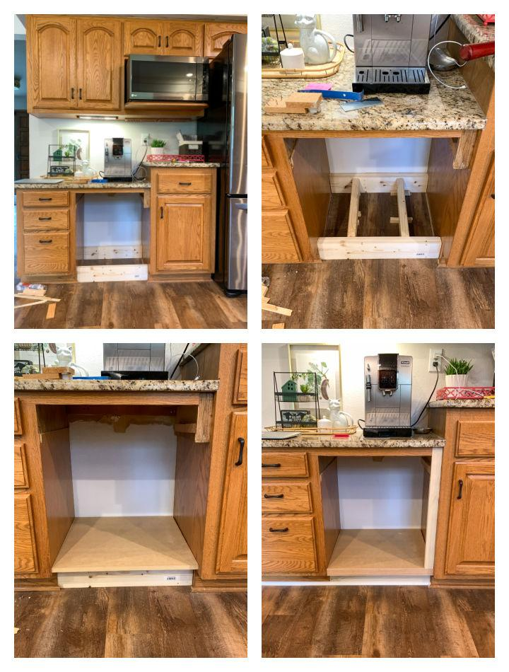 It's not terribly difficult to convert a kitchen desk to a pull-out trash space! Learn how this blogger did it in her post.