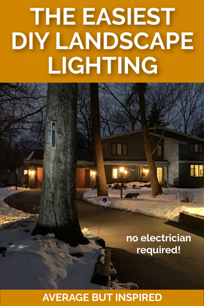 You can add outdoor lighting even in the winter! These Solar LED Landscape Lights are bright, rechargeable, and so easy to install. Learn more about DIY landscape lighting in this post.