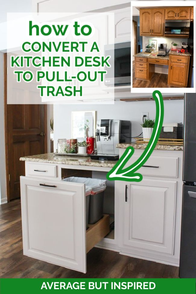 This is fantastic! Learn how to convert a kitchen desk into pull-out trash and recycling! If you don't use your built-in kitchen desk anymore, here's an idea on how to repurpose it and make it more functional for your home.