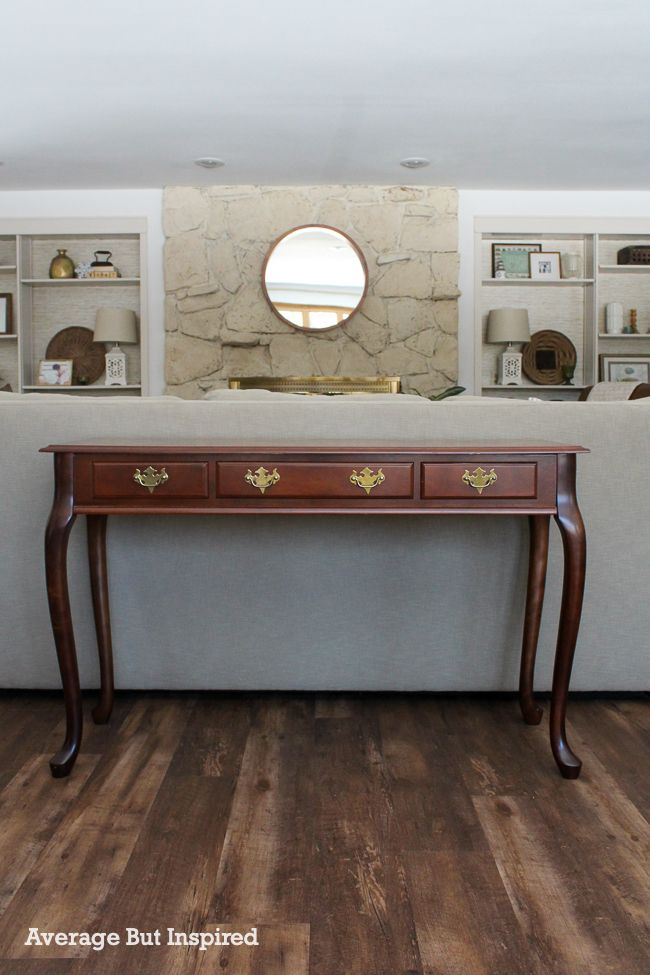 This Queen Anne sofa table in cherry wood got a beautiful, modern makeover!